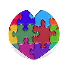 """Autism Heart Puzzle 3.5"""" Button"""