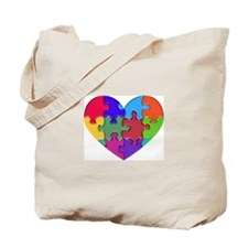 Autism Heart Puzzle Tote Bag