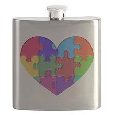 Autism Heart Puzzle Flask