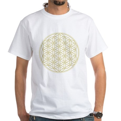 Flower of Life Organic Men's Fitted Tee (Gold) T-S