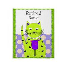 Retired Nurse cat 3 Throw Blanket