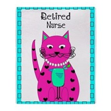 Retired nurse Cat 2 Throw Blanket