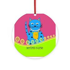Retired Nurse Cat Ornament (Round)