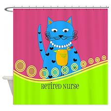 Retired Nurse Cat Shower Curtain