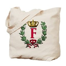 Wreath and Crown Monogram Letter F Tote Bag