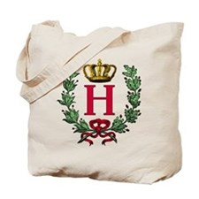 Wreath and Crown Monogram Letter H Tote Bag