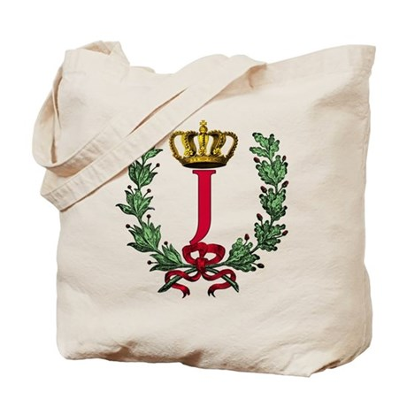 Wreath and Crown Monogram Letter J Tote Bag