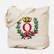 Wreath and Crown Monogram Letter Q Tote Bag