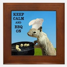 Keep Calm and BBQ On Squirrel Framed Tile