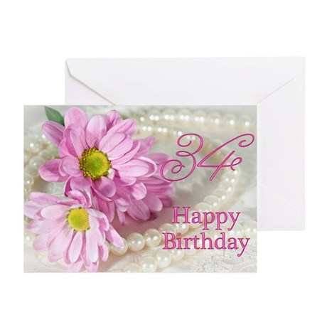 34th Birthday card with daisies Greeting Cards (Pk