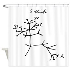 Darwin Tree of Life Black Shower Curtain