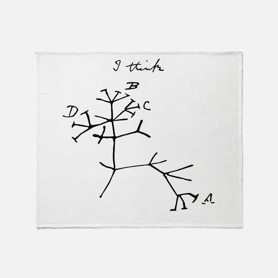 Darwin Tree of Life Black Throw Blanket