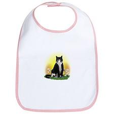 Tuxedo Cat with Daisies Bib