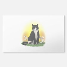 Tuxedo Cat with Daisies Decal