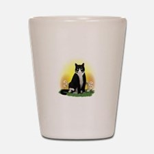 Tuxedo Cat with Daisies Shot Glass
