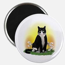 Tuxedo Cat with Daisies Magnet