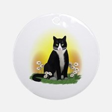 Tuxedo Cat with Daisies Ornament (Round)
