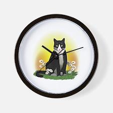 Tuxedo Cat with Daisies Wall Clock