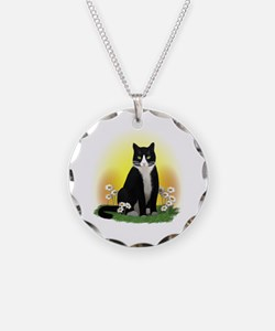 Tuxedo Cat with Daisies Necklace