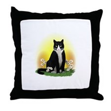 Tuxedo Cat with Daisies Throw Pillow