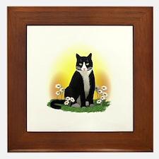 Tuxedo Cat with Daisies Framed Tile