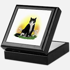 Tuxedo Cat with Daisies Keepsake Box