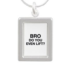 Bro, Do You Even Lift? Silver Portrait Necklace