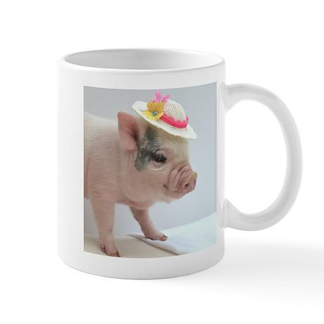 Micro pig with Summer Hat Small Mug