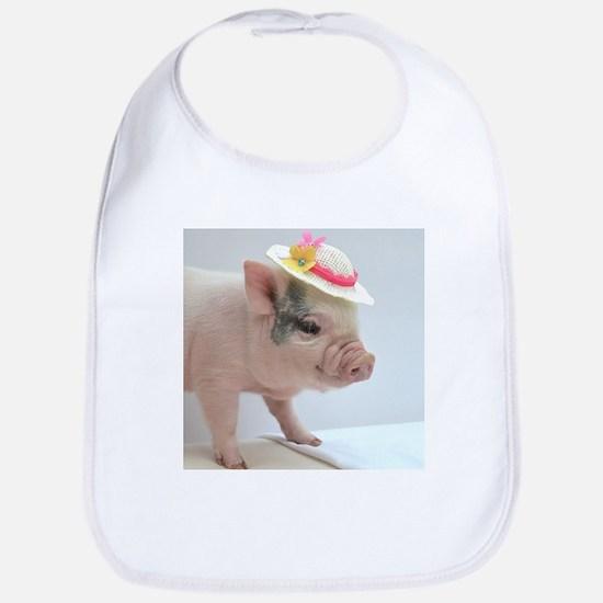 Micro pig with Summer Hat Bib