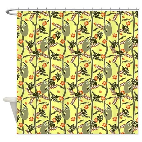 Tropical sloth shower curtain by amkili for Sloth kong shower curtain