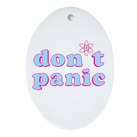 Dont Panic Hitchhikers Guide Oval Ornament