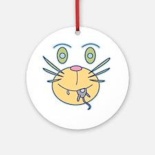 Cat Graphic Designer Holiday Ornament (Round)