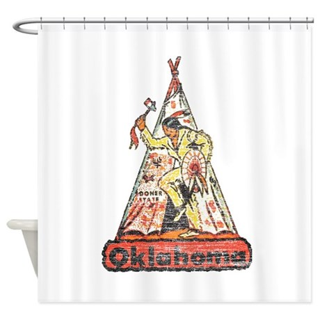 Vintage Oklahoma Indian Shower Curtain By Nationalvintage