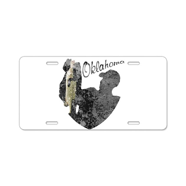 Oklahoma fishing aluminum license plate by nationalvintage for Oklahoma non resident fishing license