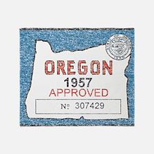Vintage Oregon Registration Throw Blanket