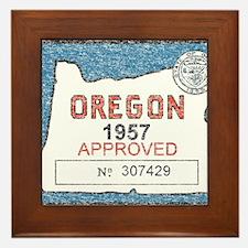 Vintage Oregon Registration Framed Tile