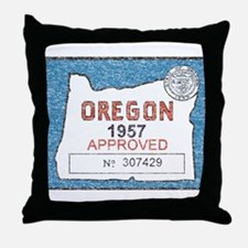 Vintage Oregon Registration Throw Pillow