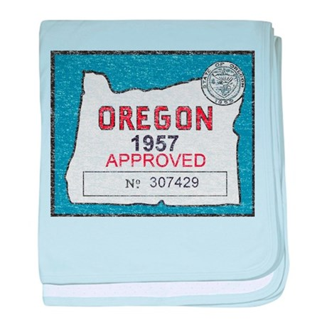 Vintage Oregon Registration baby blanket