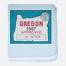Vintage Oregon Registration baby blanket