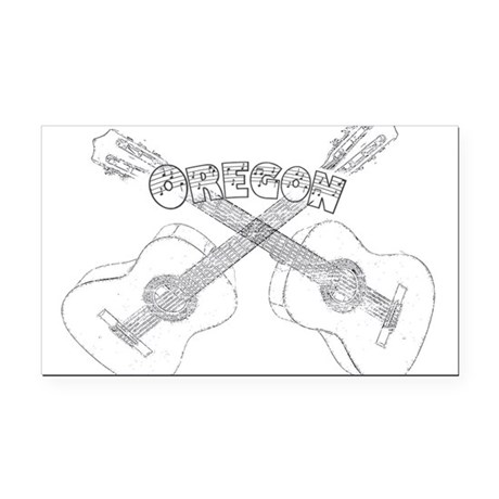 Oregon Guitars Rectangle Car Magnet