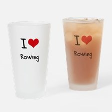 I Love Rowing Drinking Glass
