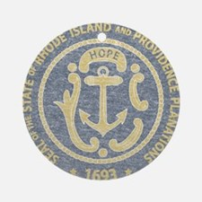Vintage Rhode Island Seal Ornament (Round)