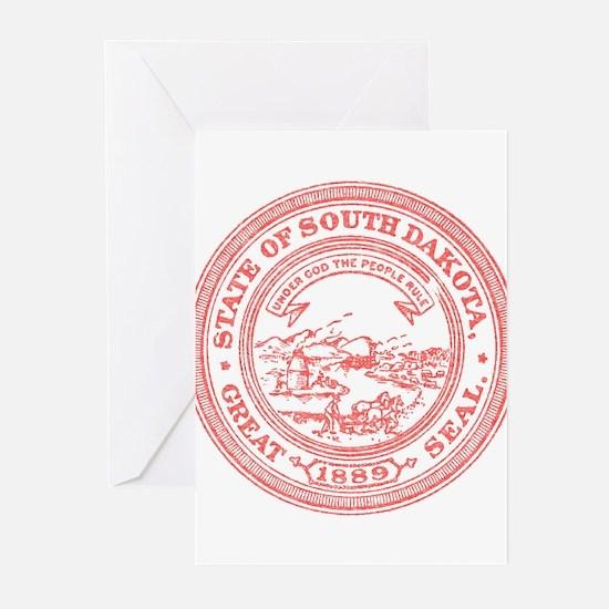 Red South Dakota State Seal Greeting Cards (Pk of