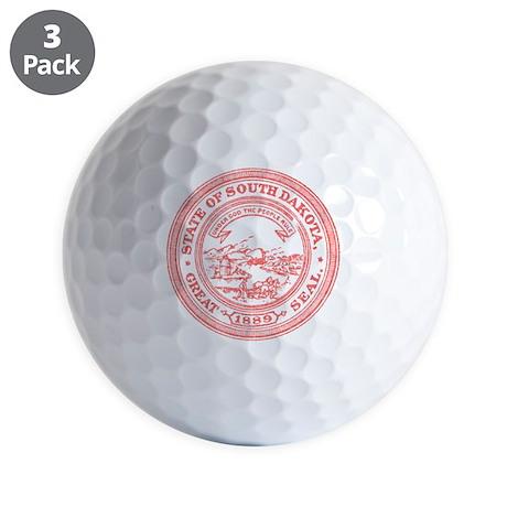 Red South Dakota State Seal Golf Ball