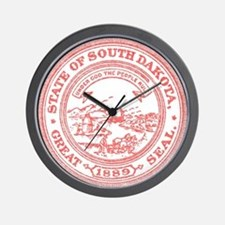 Red South Dakota State Seal Wall Clock