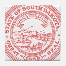 Red South Dakota State Seal Tile Coaster