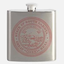 Red South Dakota State Seal Flask