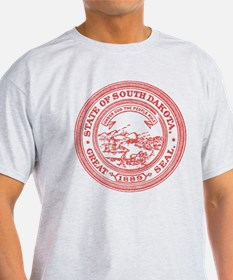 Red South Dakota State Seal T-Shirt