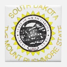 South Dakota Vintage State Flag Tile Coaster