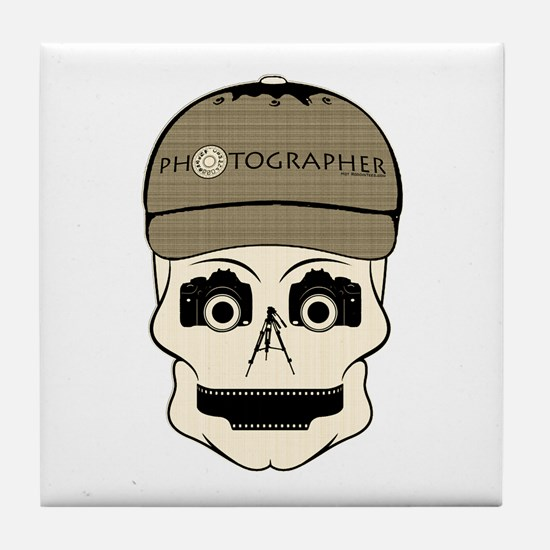 CANDY SKULL-PHOTOGRAPHER-3-2 Tile Coaster